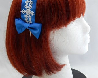 Blue Winter Snowflake Headband with Bows sweet classic lolita