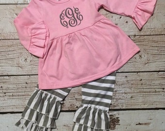 Ruffle Pants Set Pink Gray - Girls Clothing - Birthday Outfit - Family Picture Outfit - Baby Girl Shirt - Boutique Ruffle Set - Girl Gift