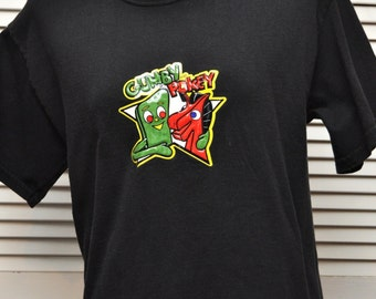Vintage Mens Womens Gumby & Pokey Tshirt/Black Cotton/Retro Adults Medium/Green Red Cartoon Characters/Childhood MO Knits/Animal Charity