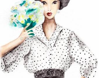 Polka Dot Glamour Fashion Illustration Fine Art Print