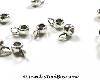 Charm Pendant Bails, TINY Antique Silver Pewter Jewelry Making Supplies, Lead Free, 7x3mm, 3mm Hole, 2mm Loop, Lot Size 25 to 200, #1245