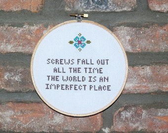 Breakfast Club Cross Stitch with Hoop- Judd Nelson Quote