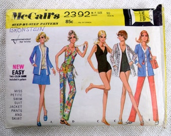 Vintage sewing pattern McCall's 2392 bathing suit one piece Swimsuit Bust 32.5 swim skirt 1970s stovepipe trousers pantsuit