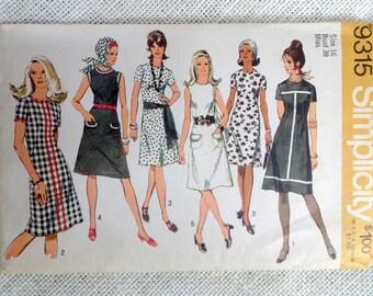 Vintage sewing pattern Simplicity 9315 dress shift dress princess seams Mod high neck sleeveless Bust 38 A line stewardess 1970s