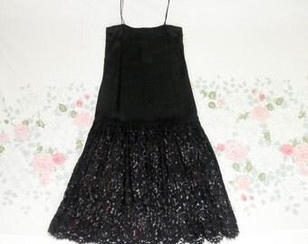 70's 80's Jessica McClintock black satin floral lace slip dress gown 1980's silky sheer drop waist flapper long maxi formal party dress 4 S