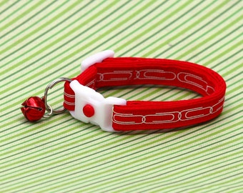 Office Cat Collar - Paper Clip Chain - Small Cat / Kitten Size or Large Size