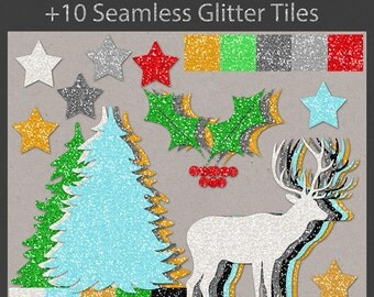 Glitter Christmas Clip Art Kit  PNG files CU Instant Download Clipart