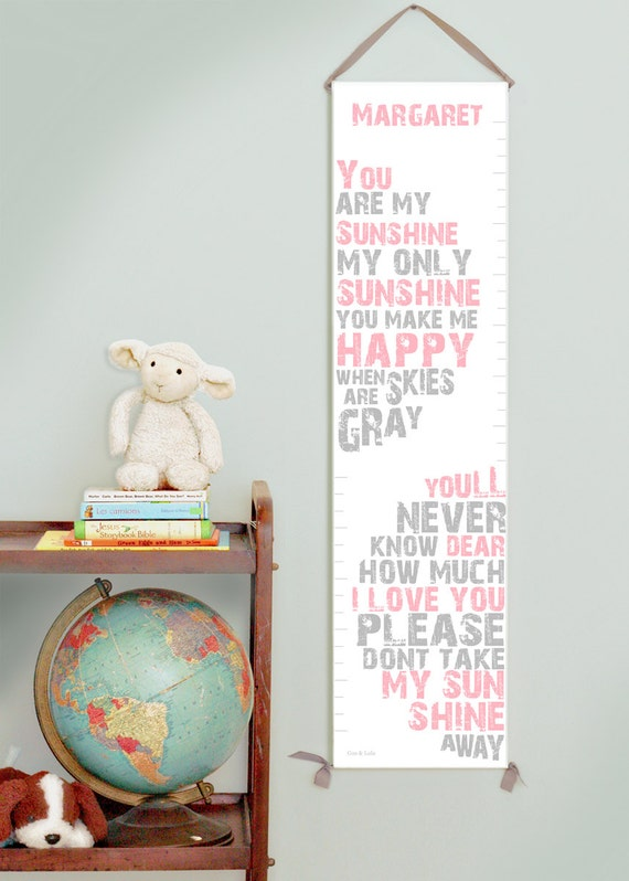 Custom/ Personalized You Are My Sunshine canvas growth chart in pink and gray