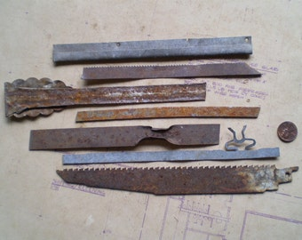 7 Rusty Metal Strips - Salvaged Supplies - Found Objects for Assemblage, Sculpture or Altered Art - Industrial Salvage