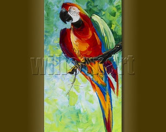 Textured Palette Knife Parrot Modern Animal Oil Painting Contemporary Original Art 12X24 by Willson Lau