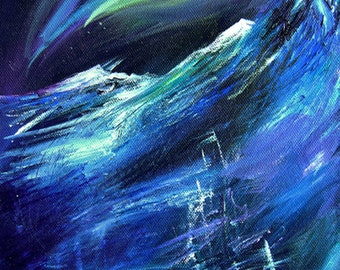 Polaris, Arctic Ship in Storm Northern Lights A4 Fine Art Painting Print