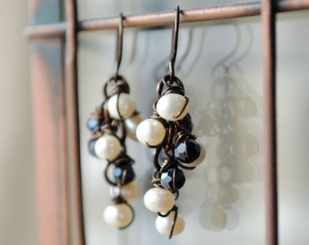 VINEYARD -- Cascade pearl earrings, Black and white earrings, Brown earrings, Copper earrings, Handmade jewelry, American made, Made in USA