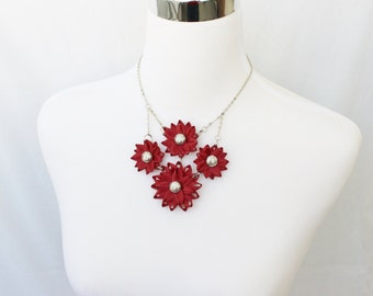 Statement Necklace, Red Necklace, Red Statement Necklace, Sherry, Dark Red Jewelry, Unique Necklaces, Custom Necklaces, Red Bib Necklace