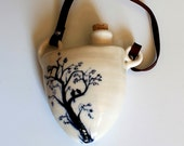 White Porcelain Flask, Wedding Flask with Brown Leather Strap,