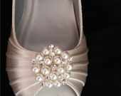 Wedding Shoes Wedge Shoes Bridal Wedges with Pearl and Crystal Cluster Brooch Dyeable Shoes Pick Your color