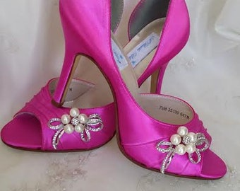 Wedding Shoes Fuchsia Bridal With Pearl And Crystal Bow Design Over 100 Custom Color Choices