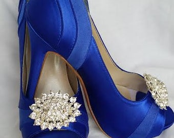 Items Similar To Peacock Wedding Shoes Sapphire Blue Wedding Shoes