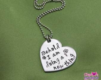 Isaiah 43:19  hand stamped scripture necklace