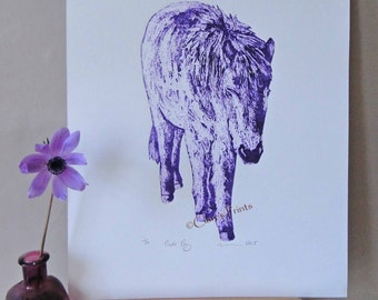 Purple Pony Art Limited Edition Hand-Pulled Collograph Print Horse