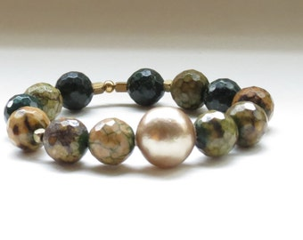 Chunky Jasper and gold pearl beaded stretch bracelet - earth tones - Birthday, anniversary, Graduation- fast ship