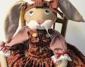 Folk Art Primitive Rabbit cloth art doll