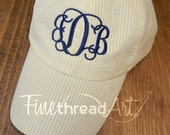 LADIES Monogram Seersucker Baseball Cap Hat Mom Bridesmaid Bride Bachelorette Summer Beach Hat