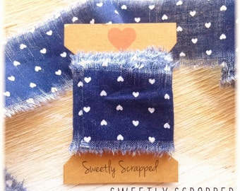Navy Blue and White Heart hand torn ribbon, shabby, primitive
