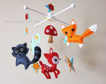 """Grey Raccoon Baby Mobile - Nursery Mobile - Running Bunny Felt crib Mobile - """"Forest Happy Time"""" Mobile (Custom Color Available)"""