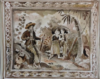 The Wayfarer-  French 18th C wallpaper  style original painting by Kristy Edwards