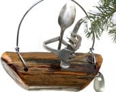 Flatware Fishing Man on a Driftwood Boat Christmas Tree Ornament, Natral Nautical Holiday Decor, Masculine Ornaments,Costal Decoration