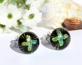"""Small Dichroic Glass Stud Earrings, Fused Glass Jewelry, Sterling Silver Posts - Pinwheel, Golden Green, 3/8"""" or 9.5mm (Item #30897-E)"""