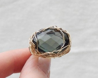 MASSIVE 31.00 cts Natural Smoky QUARTS GemStone --Faceted --Crocheted Wire 14k Gold Filled Wire--Wire Wrapped Ring OOAK