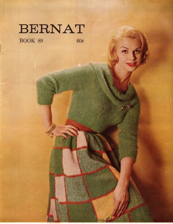 BERNAT HANDICRAFTER BOOK 89 Sweaters Skirt Stole  Bolero Mohair Angora Vintage 1960