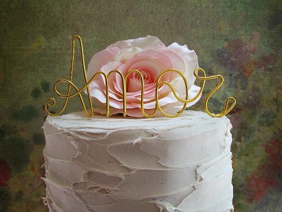 AMOR Cake Topper Shabby Chic Wedding Cake Topper By AntoArts