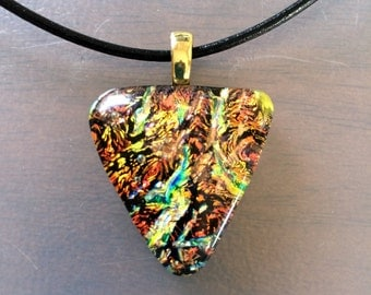 Triangle Shaped Golden Dichroic Fused Glass Pendant; Dichroic Earth Tone Necklace; Triangle Dichroic Jewelry; Triangle Dichroic Pendant