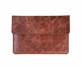 Brown Antiqued Buffalo Leather iPad Air Sleeve, iPad Mini, Dell Venue 8 7000 Case