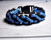 Paracord Bracelet, Survival Bracelet, Sky Blue and Black Survival Bracelet