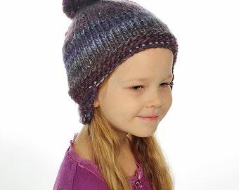 Baby / Toddler Boy / Girl Hand Knitted warm Helmet Hat / Beanie Purple / Blue/ Grey Pom pom, 0-3-6-9-12-24 months, 2T-3T, 4T-5, 6-8