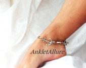 Cruise Vacation Sail Away Anchor Anklet Tiger Shell Boat Charm Sailor Anklet Silver Ankle Bracelet