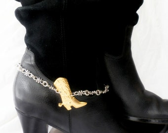 SINGLE Southwestern Fancy Link Boot Chains Fusion Silver Gold Boot Chains Silver Boot Jewelry