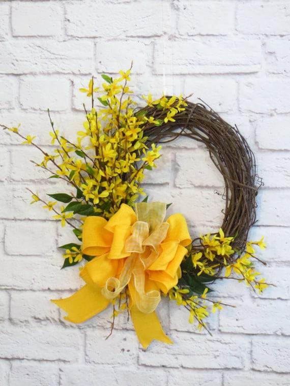 Forsythia Wreath Spring Wreath Spring Decor Yellow Wreath