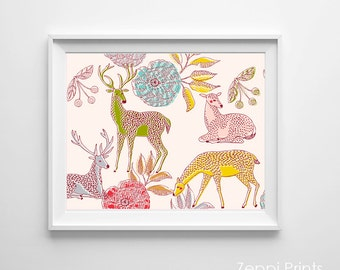 Woodland Nursery Art, Forest Deer Nursery Wall Decor, Nursery Woodland Deer Art, Lime Yellow Pink Girl Nursery Art, Nursery Pink Flowers