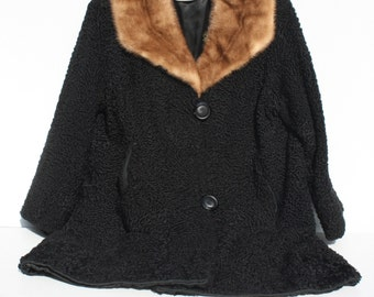 Vintage Black Curly Lamb Coat Mink Collar 60s Famous Barr