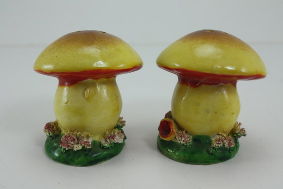 Vintage salt and pepper shaker set colorful mushroom spaghetti Colorful salt and pepper shakers