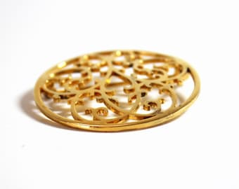Vermeil Brooch Sterling Pin 1980's Fashion Filigree Brooch Circle Pin  Abstract Design Gold Wash Brooch Costume Jewelry Vintage Sterling
