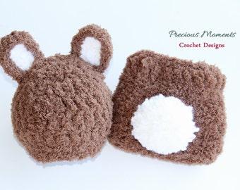 Newborn Bunny Photo Prop/ Baby Bunny Prop/ Newborn Easter Prop/ Newborn Bunny Hat/ Brown Bunny Set/ Eater Hat/ Newborn Photo Prop