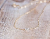 Gold White Diamond Necklace - Tiny Natural Raw White Diamonds - Gold or Silver Layering Necklace - April Birthstone - Valentines's Day Gift