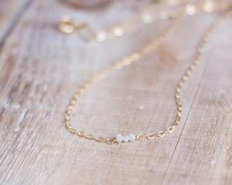 Gold White Diamond Necklace - Tiny Natural Raw White Diamonds - Gold or Silver Layering Necklace - April Birthstone - Mother's Day Gift