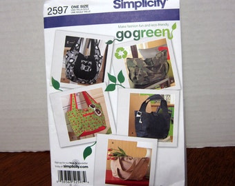 UNCUT OOP Simplicity 2597 Sewing Pattern Go Green Collection For Bags & Purses With Factory Folds