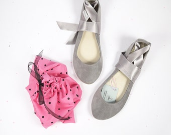 Cool Gray Leather Suede Handmade Ballet Flats with Ankle Satin Ribbon